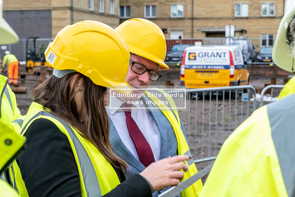 Pictured: Kevin Stewart discusses the housing figures with  Councillor Kate Campbell, convenor of City of Edinburgh Housing and Economics Committee.<br /> <br /> Housing Minister Kevin Stewart visited Waterfront Plaza in Edinburgh today and warned a no-deal Brexit could damage the future growth of the industry in Scotland as the latest new housing supply statistics were published.<br /> <br /> The minister met Keith Anderson, Chief Executive Port of Leith housing authority and Councillor Kate Campbell, convenor of City of Edinburgh Housing and Economics Committee.<br /> <br /> Ger Harley | EEm 24 September 2019