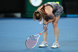 MELBOURNE, Jan. 17, 2019  Alize Cornet of France reacts during the women's singles second round match against Venus Williams of the United States at the Australian Open in Melbourne, Australia, Jan. 17, 2019. (Credit Image: © Bai Xuefei/Xinhua via ZUMA Wire)