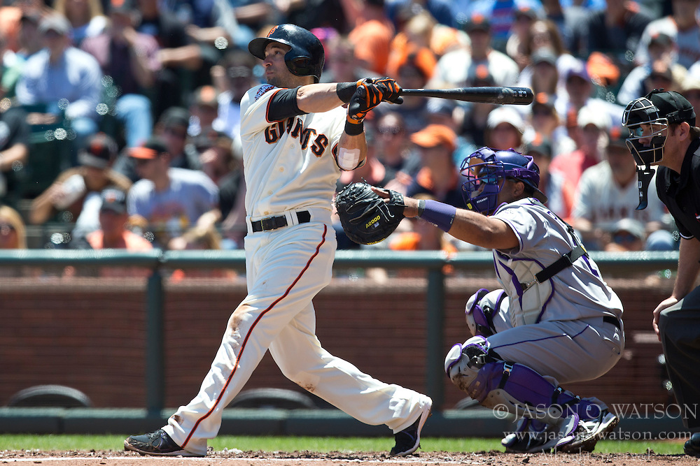SAN FRANCISCO, CA - MAY 26: Marco Scutaro #19 of the San Francisco Giants at bat against the Colorado Rockies during the first inning at AT&T Park on May 26, 2013 in San Francisco, California. The San Francisco Giants defeated the Colorado Rockies 7-3. (Photo by Jason O. Watson/Getty Images) *** Local Caption *** Marco Scutaro