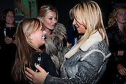 KATE MOSS; MEG MATTHEWS, KM3D-1 Film screening made by Baillie Walsh of Kate Moss. Hosted by another magazine. Hanuch of Venison. London. 16 Septemebr 2010.  -DO NOT ARCHIVE-© Copyright Photograph by Dafydd Jones. 248 Clapham Rd. London SW9 0PZ. Tel 0207 820 0771. www.dafjones.com.