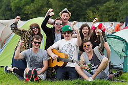 Karen Hendy, Hanksy, Rollie O'Donnell, Daragh Howard, Kevin McCabe, Roisin Lynam, Karl Smith and Claire Flannagan pictured setting up camp on the opening day of Electric Picnic 2013. Picture Andres Poveda