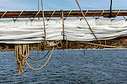 A sail and rigging on the AJ Meerwald, dockside on the Maurice River in Bivalve, NJ.
