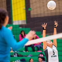 100113       Cable Hoover<br /> <br /> Newcomb Skyhawk Autumn Brown (5) pops the ball up for a shot on the Navajo Prep Eagles Tuesday at Newcomb High School.