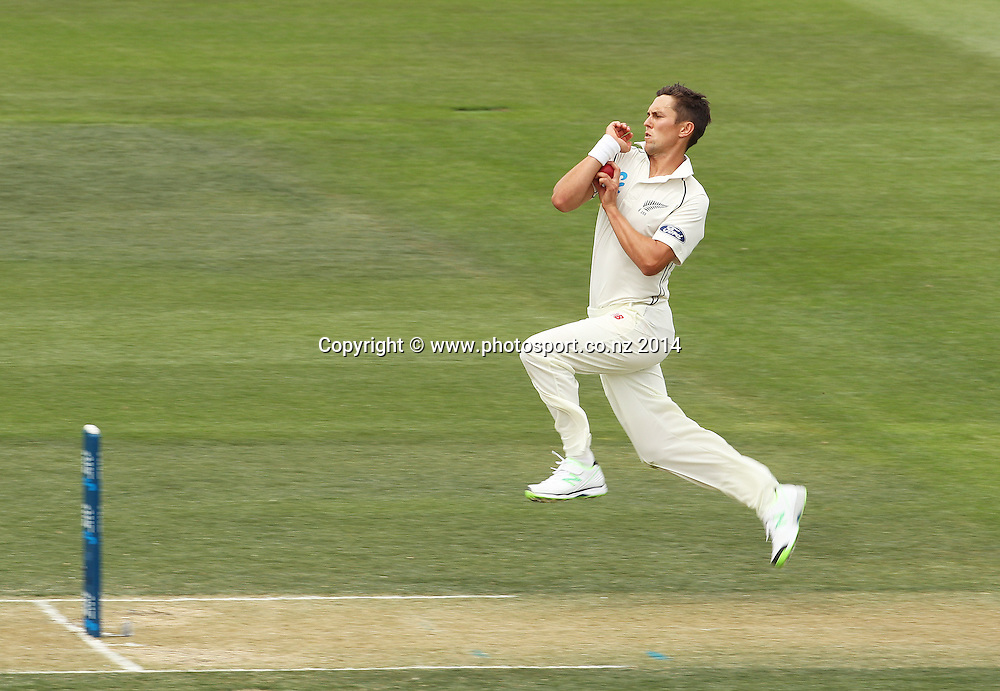 Trent Boult bowling on Day 2 of the boxing Day Cricket Test Match between the Black Caps v Sri Lanka at Hagley Oval, Christchurch. 27 December 2014 Photo: Joseph Johnson / www.photosport.co.nz