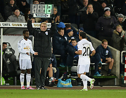 Swansea City's Jefferson Montero gets replaced by Swansea City's Nathan Dyer - Photo mandatory by-line: Alex James/JMP - Mobile: 07966 386802 - 02/12/2014 - SPORT - Football - Swansea - Liberty Stadium - Swansea City v QPR - Barclays Premier League