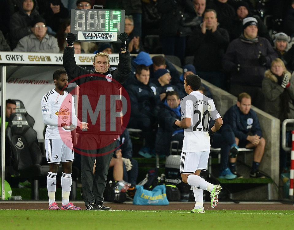 Swansea City's Jefferson Montero gets replaced by Swansea City's Nathan Dyer - Photo mandatory by-line: Alex James/JMP - Mobile: 07966 386802 - 02/12/2014 - SPORT - Football - Swansea - Liberty Stadium - Swansea City v QPR - Barclays Premier League