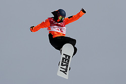 Nederlands Cheryl Maas in the Ladies Snowboarding Big Air at the Alpensia Ski Jumping Centre during day ten of the PyeongChang 2018 Winter Olympic Games in South Korea.