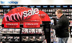 FILE PICTURE © under license to London News Pictures. 06/01/2011. HMV issues third profit warning of the year.   Picture credit should read: Julie Edwards/London News Pictures