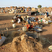 June 16, 2004- Recently displaced people from villages around the town of Nyala, Darfur set up a makeshift camp,with the few personal belongings they were able to carry, on a barren plain on the outskirts of Nyala after fleeing their villages when they were attacked by the Janjaweed. They currently have no adequate shelter and many are sleeping in the open. Photo by Evelyn Hockstein/CAREmp,with the few personal belongings they were able to carry, on a barren plain on the outskirts of Nyala after fleeing their villages when they were attacked by the Janjaweed. They currently have no adequate shelter and many are sleeping in the open. Photo by Evelyn Hockstein/CARE
