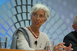 October 6, 2016 - Cristine Lagarde, Managing Director of the IMF, in panel talking about Global Economy, during the IMF - World Bank Annual Meetings 2016. (Credit Image: © Dimitrios Manis via ZUMA Wire)