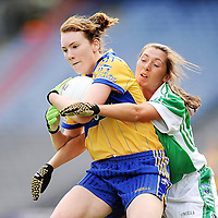 27 September 2009; Fiona Lafferty, Clare, in action against Aine McBrien, Fermanagh. TG4 All-Ireland Ladies Football Intermediate Championship Final, Clare v Fermanagh, Croke Park, Dublin. Picture credit: Stephen McCarthy / SPORTSFILE *** NO REPRODUCTION FEE ***