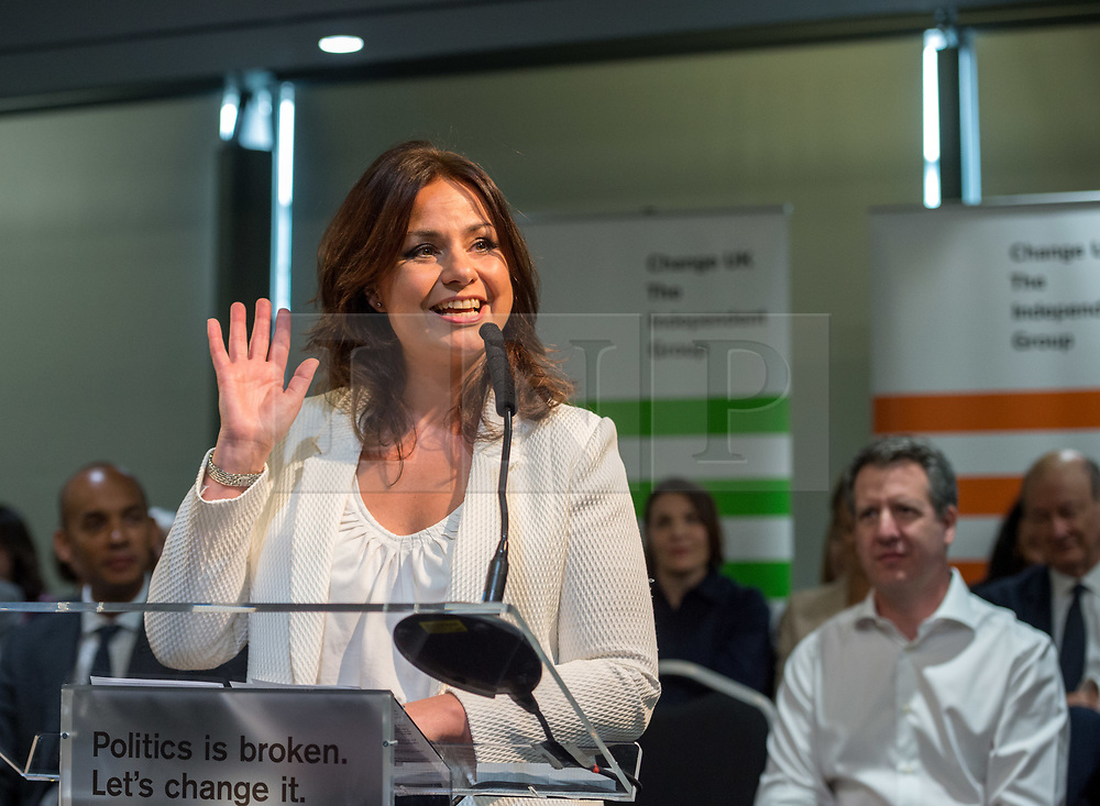 © Licensed to London News Pictures. 23/04/2019. Bristol, UK. HEIDI ALLEN MP at theChange UK – The Independent Group holding their European election campaign launch at We The Curious in Bristol's Millennium Square. Photo credit: Simon Chapman/LNP