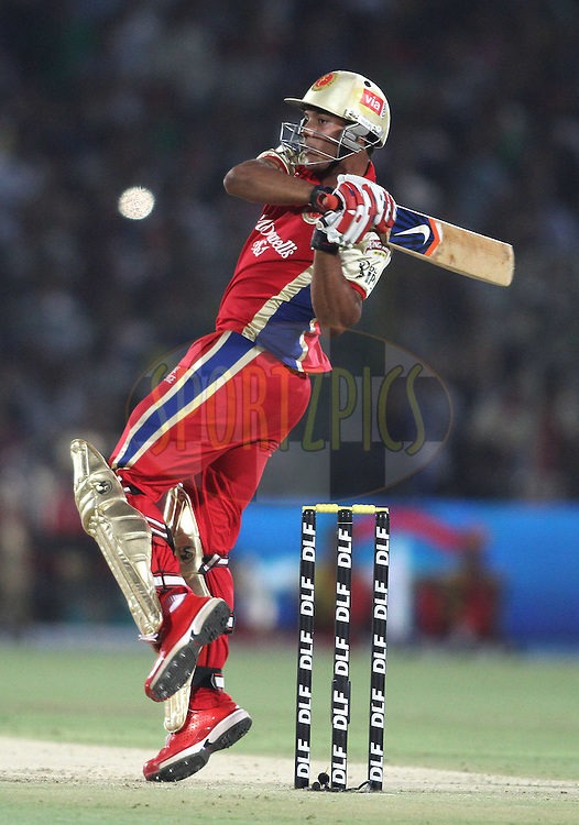 Mayank Agarwal of the Royal Challengers Bangalore hooks a delivery during match 30 of the the Indian Premier League (IPL) 2012  between The Rajasthan Royals and the Royal Challengers Bangalore held at the Sawai Mansingh Stadium in Jaipur on the 23rd April 2012..Photo by Shaun Roy/IPL/SPORTZPICS