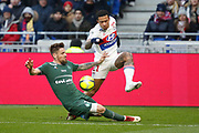 Memphis Depay of Lyon and Mathieu Debuchy of Saint Etienne during the French Championship Ligue 1 football match between Olympique Lyonnais and AS Saint-Etienne on february 25, 2018 at Groupama stadium in Décines-Charpieu near Lyon, France - Photo Romain Biard / Isports / ProSportsImages / DPPI