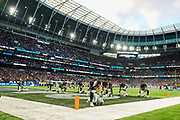 Oakland Raiders prepare at the start of the match during the International Series match between Oakland Raiders and Chicago Bears at Tottenham Hotspur Stadium, London, United Kingdom on 6 October 2019.