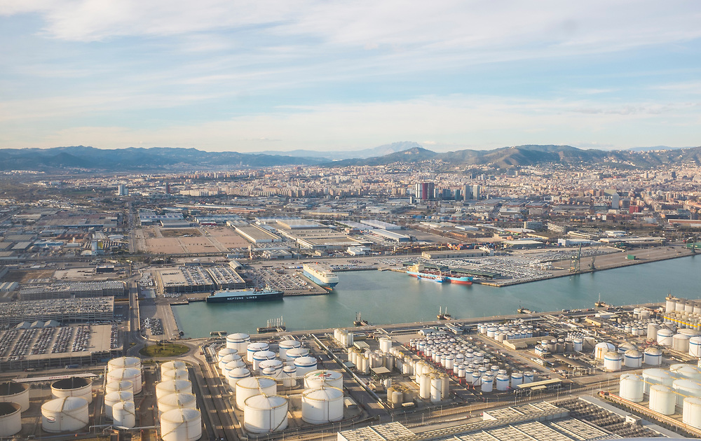 Barcelona port, seen from the air. Europe's ninth largest container port.