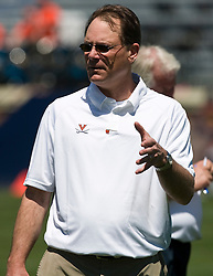Virginia offensive coordinator Gregg Brandon before the start of the spring game.  The Virginia Cavaliers football team played the annual spring football scrimmage at Scott Stadium on the Grounds of the University of Virginia in Charlottesville, VA on April 18, 2009.  (Special to the Daily Progress / Jason O. Watson)