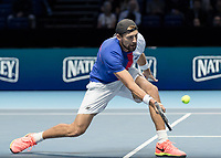 Tennis - 2017 Nitto ATP Finals at The O2 - Day Two<br /> <br /> Mens Doubles: Group Woodbridge/Woodforde: Lukasz Kubot (Poland) & Marcelo Melo (Brazil) Vs Ivan Dodig (Croatia) & Marcel Granollers (Spain)<br /> <br /> Lukasz Kubot (Poland) gets down low to return a drop shot at the O2 Arena<br /> <br /> COLORSPORT/DANIEL BEARHAM