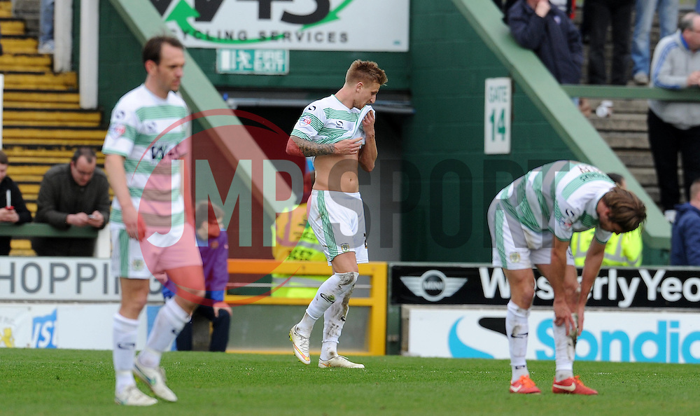 Dejection for Yeovil Town's Byron Webster - Photo mandatory by-line: Harry Trump/JMP - Mobile: 07966 386802 - 03/04/15 - SPORT - FOOTBALL - Sky Bet League One - Yeovil Town v Chesterfield - Huish Park, Yeovil, England.