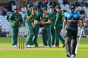 Ish Sodhi celebrates the wicket of Ross Whiteley during the Natwest T20 Blast North Group match between Nottinghamshire County Cricket Club and Worcestershire County Cricket Club at Trent Bridge, West Bridgford, United Kingdom on 26 July 2017. Photo by Simon Trafford.