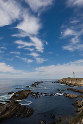 Point Arena lighthouse sits on cliffs along the Pacific coast in southern Mendocino County, California, USA.