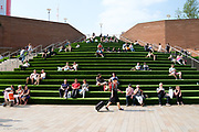 It was quite a surprise to see that the huge crescent shaped steps at Liverpool One, had been &lsquo;greened&rsquo;. I loved it. It was now a huge interactive artwork sculpture and it softened the acres of concrete and brick in this modern urban environment.<br />