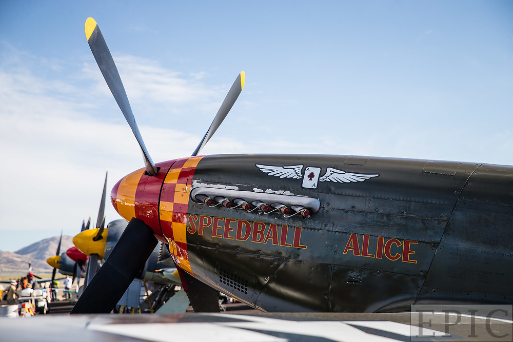 RENO, NV - SEPTEMBER 13: The plane of Dan Vance named Speedball Alice waits for todays test run at the Reno Championship Air Races on September 13, 2017 in Reno, Nevada. (Photo by Jonathan Devich/Getty Images) *** Local Caption *** Dan Vance
