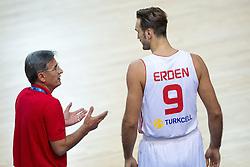 04.09.2013, Arena Bonifka, Koper, SLO, Eurobasket EM 2013, Tuerkei vs Finnland, im Bild Bogdan Tanjevic, head coach of Turkey talking to Semih Erden #9 of Turkey // during Eurobasket EM 2013 match between Turkey and Finland at Arena Bonifka in Koper, Slowenia on 2013/09/04. EXPA Pictures © 2013, PhotoCredit: EXPA/ Sportida/ Matic Klansek Velej<br /> <br /> ***** ATTENTION - OUT OF SLO *****