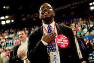 Deinde Peters a Texas delegate during the pledge of alligiance..RNC, Madison Square Garden, NYC, NY USA.9/1/04.