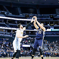 01 February 2016: Memphis Grizzlies center Marc Gasol (33) takes a jump shot over Denver Nuggets center Jusuf Nurkic (23) during the Memphis Grizzlies 119-99 victory over the Denver Nuggets, at the Pepsi Center, Denver, Colorado, USA.