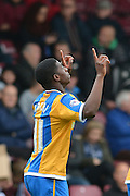 Sullay Kaikai of Shrewsbury Town celebrates scoring to go 1-0 up during the Sky Bet League 1 match between Scunthorpe United and Shrewsbury Town at Glanford Park, Scunthorpe, England on 17 October 2015. Photo by Ian Lyall.