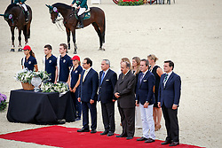 Prize giving consolation<br /> Ramon Catalan (President of CSIO Barcelona), Javier Revuelta (President of the Spanisch National federation), Ingmar De Vos (FEI Chief Executive Officer) HH Prince Mansour (Saudi Arabian Ambassador to Spain),<br /> Abdul Rahman Al Hazza'a (President of the Saudi Broadcasting Corporation)<br /> Team consolation competition<br /> Furusiyya FEI Nations Cup Jumping Final<br /> CSIO Barcelona 2013<br /> &copy; Dirk Caremans