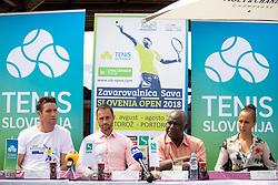 Gregor Krusic (director of Tennis Slovenia), Aljaz Kos (director of Zavarovalnica Sava), Peter Bossman (Mayor of Piran) and Nina Spremo (organizer of Tennis Fest) at press conference of ATP Challenger Zavarovalnica Sava Slovenia Open 2018, on August 6, 2018 in Sports centre, Portoroz/Portorose, Slovenia. Photo by Urban Urbanc / Sportida