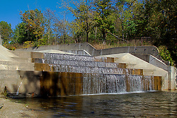 08 October 2013:   Yellowwood Lake was lowered in 2011 to repair the concrete spillway at the south end of the lake.  Water now flows freely over the steps of the dam to keep the water at level.<br />