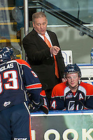 KELOWNA, CANADA -FEBRUARY 1: Mark Ferner assistant coach of the Kamloops Blazers speaks to a player from the bench against the Kelowna Rockets on February 1, 2014 at Prospera Place in Kelowna, British Columbia, Canada.   (Photo by Marissa Baecker/Getty Images)  *** Local Caption *** Mark Ferner;
