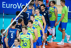 Players of Slovenia and Serbira shaking hands after friendly volleyball match between Slovenia and Serbia in Arena Stozice on 2nd of September, 2019, Ljubljana, Slovenia. Photo by Grega Valancic / Sportida