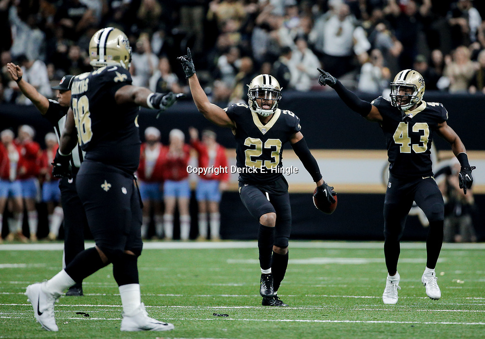 Dec 24, 2017; New Orleans, LA, USA; New Orleans Saints cornerback Marshon Lattimore (23) and free safety Marcus Williams (43) celebrate after a interception against the Atlanta Falcons during the second quarter at the Mercedes-Benz Superdome. Mandatory Credit: Derick E. Hingle-USA TODAY Sports
