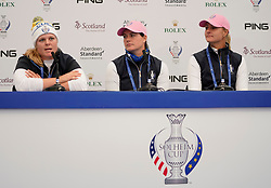 Auchterarder, Scotland, UK. 12 September 2019. Press conference with Team Europe players for the 2019 Solheim Cup. Pictured; Caroline Hedwall (l) , Caroline Masson (c) and Anna Nordqvist. Iain Masterton/Alamy Live News