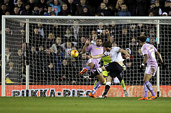 Chris Martin of Derby County shoots over the bar whilst under pressure from Anton Ferdinand of Reading - Mandatory byline: Robbie Stephenson/JMP - 12/01/2016 - FOOTBALL - iPro Stadium - Derby, England - Derby County v Reading - Sky Bet Championship