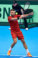 Sopot, Poland - 2018 April 07: Michal Przysiezny from Poland plays while Man's Single Match nr 2 during Poland v Zimbabwe Tie Group 2, Europe/Africa Second Round of Davis Cup by BNP Paribas at 100 years of Sopot Hall on April 07, 2018 in Sopot, Poland.<br /> <br /> Mandatory credit:<br /> Photo by © Adam Nurkiewicz / Mediasport<br /> <br /> Adam Nurkiewicz declares that he has no rights to the image of people at the photographs of his authorship.<br /> <br /> Picture also available in RAW (NEF) or TIFF format on special request.<br /> <br /> Any editorial, commercial or promotional use requires written permission from the author of image.