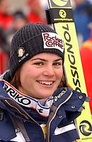 Alpint: 22.12.2001 St.Moritz, Schweiz,<br />Die Italienerin KAREN PUTZER nach ihrem Sieg am Samstag (22.12.2001) beim Ski Alpin Weltcup Super-G der Damen im schweizerischen St.Moritz.<br /><br />Foto: Digitalsport