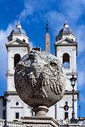 Trinità dei Monti church located at the top of the Spanish Steps, Rome, Italy.