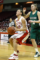 17 December 2006: Megan McCracken gets inside. In a non-conference game, the Eagles of Eastern Michigan  lost by a score of 68-55 to the Redbirds in Redbird Arena on the campus of Illinois State University in Normal Illinois.<br />