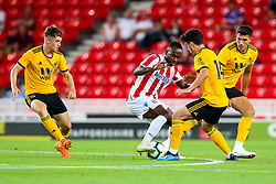 Saido Berahino of Stoke City takes on Pedro Goncalves of Wolverhampton Wanderers - Mandatory by-line: Robbie Stephenson/JMP - 25/07/2018 - FOOTBALL - Bet365 Stadium - Stoke-on-Trent, England - Stoke City v Wolverhampton Wanderers - Pre-season friendly