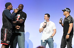 "August 27, 2010; Boston, MA; USA; Glen ""Big Baby"" Davis (l), Shaquille O'Neal, Mike Goldberg and Tito Ortiz joke around during the UFC 118 Fan fest in Boston."