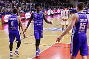 Esultanza Rashawn Thomas e Cooley Jack, GRISSIN BON REGGIO EMILIA vs BANCO DI SARDEGNA SASSARI, Campionato Lega Basket Serie A 2018/2019, PalaBigi 7 ottobre 2018 - FOTO: Bertani/Ciamillo