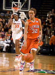 Clemson guard Morganne Campbell (32) dribbles up court against Clemson.  The Virginia Cavaliers women's basketball team defeated the Clemson Tigers 83-71 at the John Paul Jones Arena in Charlottesville, VA on February 21, 2008.