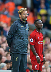 LIVERPOOL, ENGLAND - Saturday, September 22, 2018: Liverpool's manager Jürgen Klopp prepares to bring on substitute Naby Keita during the FA Premier League match between Liverpool FC and Southampton FC at Anfield. (Pic by Jon Super/Propaganda)