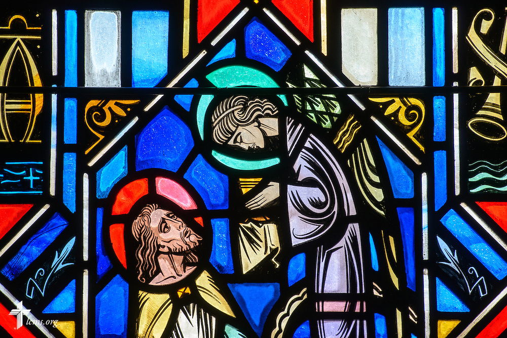 Stained glass at Luther Memorial Chapel depicts Jesus Christ, Matthew 26:39, on Friday, Jan. 29, 2016, in Shorewood, Wis. LCMS Communications/Erik M. Lunsford
