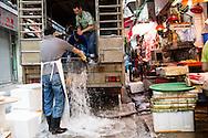 Unloading live fish for sale at Connaught Road Market, Hong Kong